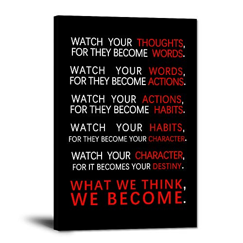 """Watch Your Thoughts Motivational Wall Art Inspirational Canvas Painting Inspiring Entrepreneur Quotes Posters Prints Artwork Living Room Home Office Classroom Decor Framed Ready to Hang(12""""Wx18""""H)"""