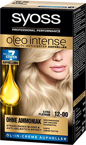 Syoss Oleo Intense Haarfarbe, 12-00 Extra Platinum, 3er Pack (3 x 133 ml)