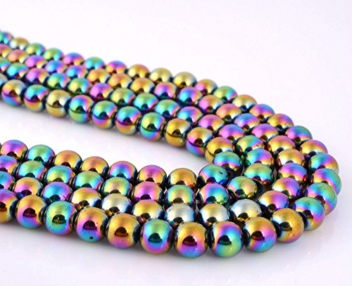 jennysun2010 4mm Natural Non-Magnetic Hematite Gemstone Round Ball Beads 16'' Inches Metallic Multi-Colored 1 Strand for Bracelet Necklace Earrings Jewelry Making Crafts Design Healing