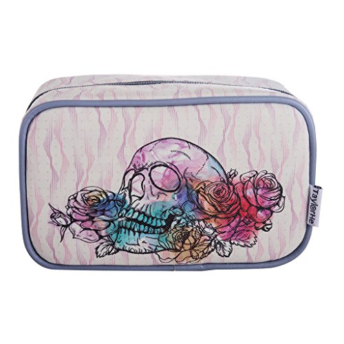 TaylorHe Make-up Bag Impermeabile Beauty Case Borsa Cosmetico Trucco Sacchetto borsa da toilette cranio, fiore, rosa