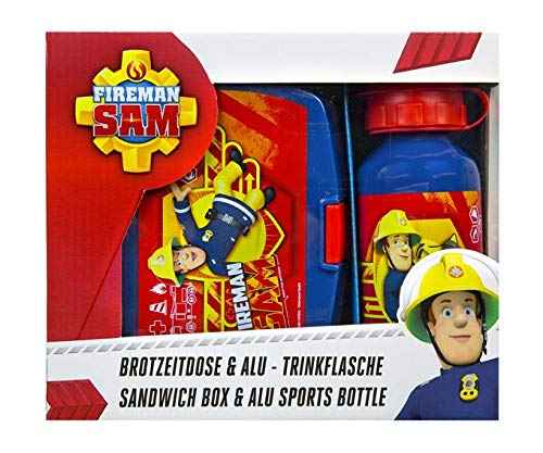 Scooli FSTU9881 Geschenkset mit Brotdose mit Clip und Aluflasche 400 ml, Feuerwehrmann Sam, leicht zu öffnen und zu schließen, BPA und Phthalat frei, Mehrfarbig