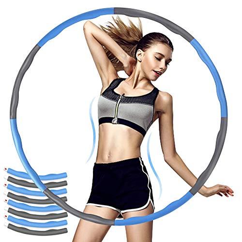 Sunshine smile Hula Hoop,Fitness Hula Hoop Reifen,Fitness Hula Hoop zur Gewichtsreduktion und Massage,Gymnastik Kreis,Schlankheits Kreis zur Gewichtsverlust,Abnehmbarer Hoola Hoop (Blau Grau)