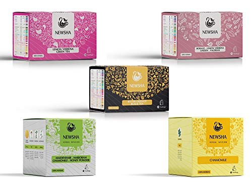 Calming and Sleep Tea (a Bundle of 192 Tea Bags in 12 Boxes: Chamomile Infusion (3), Lemon Verbena Green Tea (2), 4 Herbs (3), Dream Potion (3), Bitter Orange Black Tea(2))