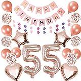 55. Globos de decoración para cumpleaños de 55 años, guirnalda de cumpleaños con número 55, globos gigantes con forma de estrella y corazón, globos de confeti, decoración para colgar