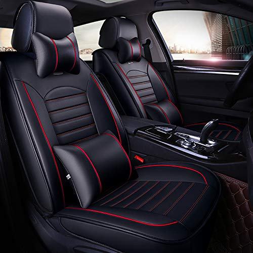 otoez 5 Seats Deluxe PU Leather Car Seat Cover Full Set Front & Rear Seat Mat Universal Auto Seat Pad Protector (with 2 Waist & 2 Headrest Pillows, Black with Red Edge)