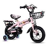 YETC Bicicletas para niños Bicicleta plegable Estudiante Parque Estudiante Bicicleta estática Niño Niña Bicicletas Acero Alto Carbono Niños y Niñas Super Velocidad (Color: Rosa, Tamaño: 16 pulgadas)