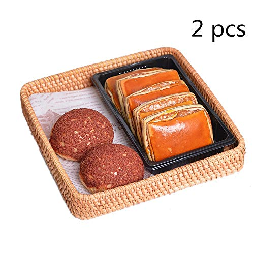 Rattan Fruit Basket Hand Woven Rattan Bread Serving Basket Serving Tray Fruit Display Storage Basket Set Of 2 Woven Storage Basket (Color : Natural, Size : 21x21x4cm)