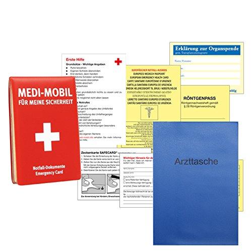 Medi-Mobil Notfall Informationsset DIN A7 (ca. 11 x 8 cm) mit Zeckenkarte, Organspendeausweis, Erste Hilfe Tipps inkl. Arzttasche gratis