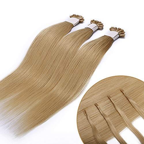 Extensions Echthaar Bondings 1g 100% Remy Echthaar Haarverlängerung Keratin Bonding 50 Strähnen 55cm (#613 hellblond)