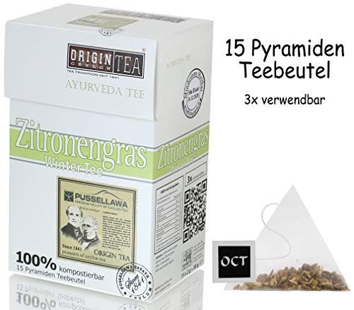 Origin Ceylon Tea Zitronengras Ayurveda Tee - Winter Tee 15 Pyramiden-Teebeutel direkt von der Plantage aus Sri Lanka