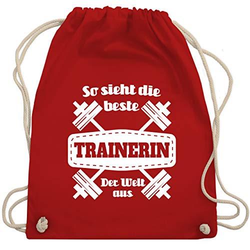 Shirtracer Sonstige Berufe - So sieht die beste Trainerin der Welt aus - Unisize - Rot - beste trainerin - WM110 - Turnbeutel und Stoffbeutel aus Baumwolle