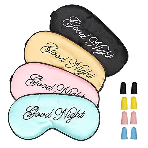 N/AN/A CHALA 4STK Schlafmaske Seide Sleep Mask Sleeping Mask Schlaf Augenmaske Frauen Schlafbrille Mit Ohrstöpseln und Tragbare Tasche für Damen und Männer (Rosa, Schwarz, Hellrosa, Hellblau)