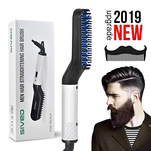 Peine alisador de barba para hombres – Cepillo alisador de cabello eléctrico rápido multifuncional, peine rizador de pelo