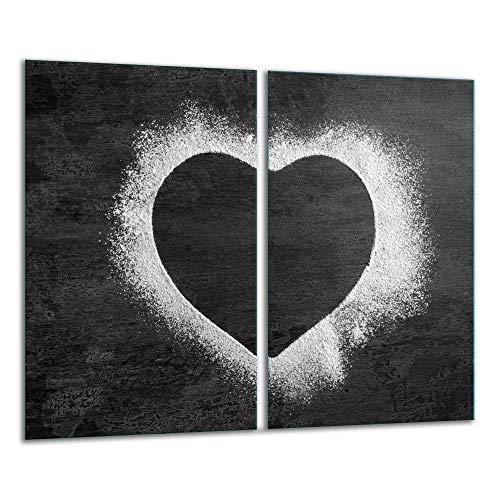 TMK | Herdabdeckplatten ceranfeld 2 Teilig 30x52 cm | Ceranfeldabdeckung Küche Elektroherd Induktion | Herdschutz Spritzschutz | Glasplatte Schneidebrett | motiv Granit