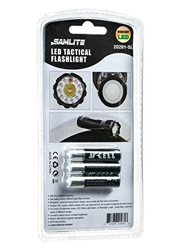 SAMLITE- LED Tactical Flashlight With 5 Options, Bright LED Light, Red Pointer, UV Blacklight, Green Light and Magnetic Bottom - Water Resistant - (3 AAA Batteries Included)