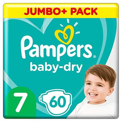 Pampers Baby-Dry Größe 7, 60 Windeln, bis zu 12 Stunden, 15 kg, 2 Stück