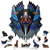 HItiejoy Wooden Jigsaw Puzzles Angel Animal Shaped Puzzles for Adults and Kids, 200 PCS Unique Shape Puzzle Pieces Colorful Puzzles and Cool Puzzles Fun Adult Games (Queen Size)