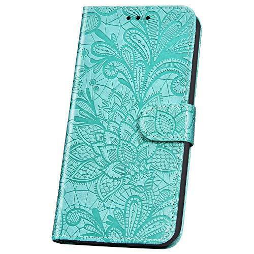 JAWSEU Flip Portemonnee PU Lederen Hoesje Compatibel met Xiaomi Mi CC9E Kant Bloemenpatroon Flowers Green