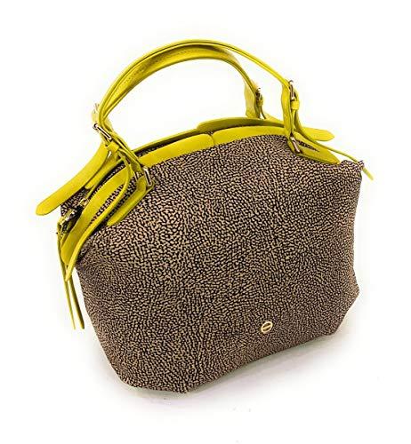 Borbonese Borsa a mano in Nylon con inserti in pelle,tracolla regolabile,estraibile.Logo frontale.Chiusura borsa con zip .30x28x18cm