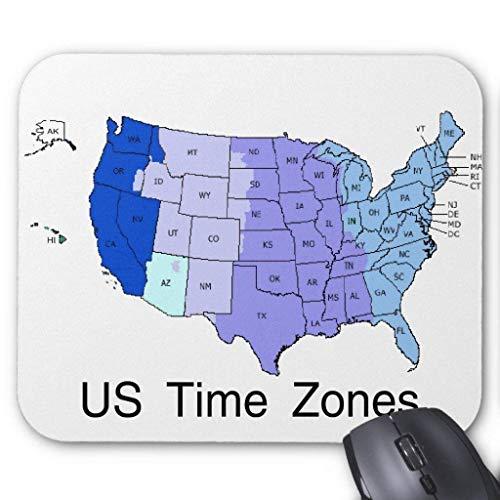 Accesorios de ordenador anti-fricción pulsera Us Time Zones Mouse Pad 18X22