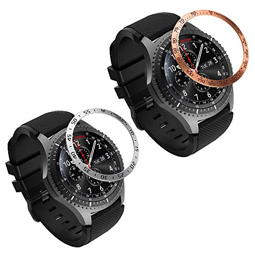 MoKo 2 PZS Anillo de Bisel Compatible con Samsung Gear S3/Galaxy Watch 46mm, Smart Watch Bisel Cubierta Adhesiva de Acero Inoxidable Antiarañazos Protector - Oro + Plata