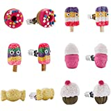 Minihope Kids Jewelry, Hypoallergenic Polymer Clay Earrings Set for little girls, Colorful Desserts Candy Stud Earrings for Children.