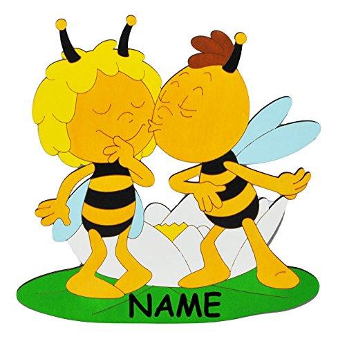 alles-meine.de GmbH XL - Türschild / Wandbild / Wandtattoo -  die Biene Maja und Willi gibt einen Kuß  incl. Namen - aus Holz - selbstklebend - Kinderzimmer Deko Bilder / Aufkl..