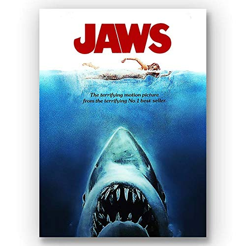 Box Prints Jaws Retro Classic Movie Art Vintage póster de película Foto enmarcada de impresión de Pared