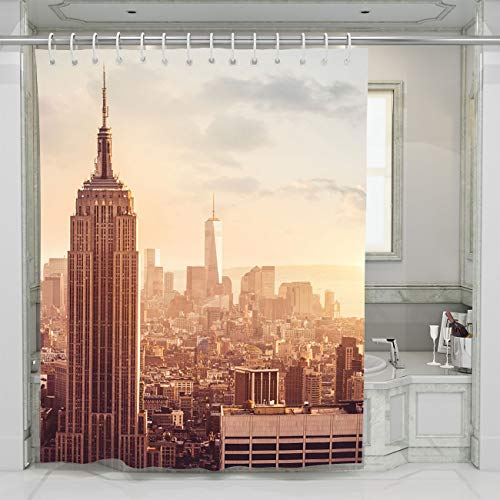 BEISISS Sunset Shower Curtain Empire State Building at Sunset Bathroom Curtain Durable Water Repellent Bath Curtain,72Wx72L