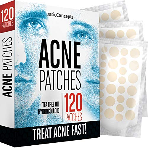 Acne Patches (120 Pack), Tea Tree Oil and Hydrocolloid Pimple...