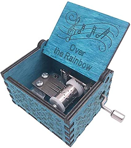 Wood Music Box 18 Note Hand Crank Antique Engraved Mini Musical Gifts Collections Home Decoration for Halloween Christmas Anniversary Birthday Somewhere Over The Rainbow Blue