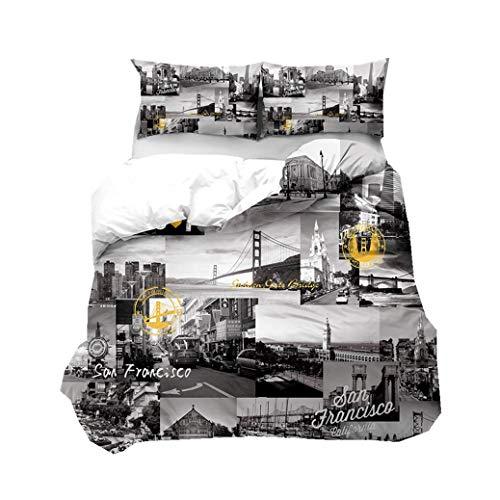 Sticker Superb Gris Blanco London Ciudad Edificio Ropa de Cama Adulto Microfibra Funda Nórdica Hombre Adecuado para Juegos de Cama de Otoño e Invierno (AGW-25, 220x240 cm, Cama 150 cm)