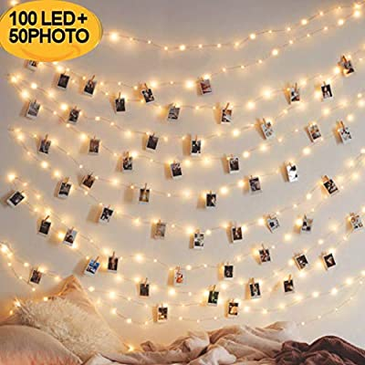 Luccase 10M 100LED Light Interior Photo Display Garland Wall Decoration Fairy Lights Lights with 20 Pegs & 50 Clip Hanging Photo Frames Decorations for Bedroom Store from Luccase