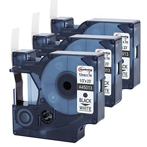 Upwinning kompatibel Schriftbänder als Ersatz für Dymo D1 45013 12 mm x 7 m schwarz auf weiß Etikettenband, S0720530 Kompatibel Labelmanager & LP 100 120p 160 200 210D 280 360D 420P 500TS PnP, 3x