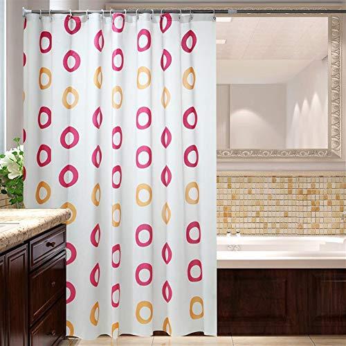 LGANY douchegordijn, waterdicht, vormvast, met haken voor douchecabine en badkuip, gewogen zoom, 180 x 180 cm