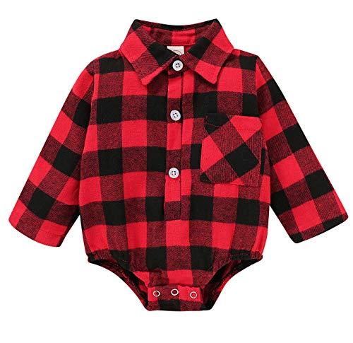 Newborn Christmas Baby Girl Boy Blouse Plaid Deer Plaid Flannel Jumpsuit Bodysuit Clothes