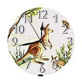 Lewiuzr Reloj de Pared de Canguro, Australia Marsupial Wildlife Forest Prairie Animal Pouch Dam Madre Hijo Silencioso Reloj de Pared Redondo sin tictac