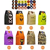 Kalolary 40Pcs Halloween Trick or Treat Goody Gags in 8 Designs, Paper Gift Bags Party Favor Candy Bags with 60Pcs Trick-or-Treat Stickers for Halloween Decoration