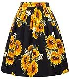 GRACE KARIN Falda Negra de Fiesta Girasol Floral Pin Up Retro Corta 32# M