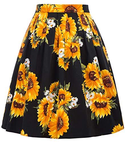 GRACE KARIN Falda Negra de Fiesta Girasol Floral Pin Up Retro Corta 32# XL