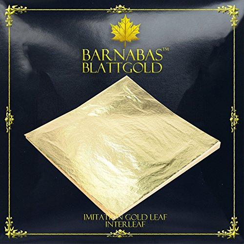 Imitation Gold Leaf Sheets - by Barnabas Blattgold - 100 Sheets - 16 x 16cm - Loose Leaf Interleaved