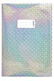 HERMA 19473 Heftumschlag DIN A4 Glamour, Hefthülle mit Beschriftungsetikett, aus strapazierfähiger und abwischbarer holografischer Polypropylen-Folie, Heftschoner für Schulhefte, silber