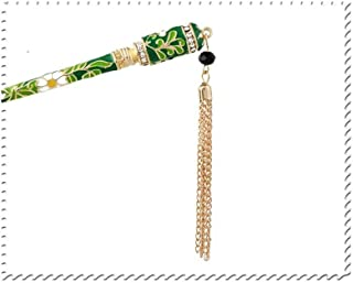 LUKEEXIN Chinese National Style Hairpin Tassel Beads Hair Chopsticks Hair Accessories (Color : Green)