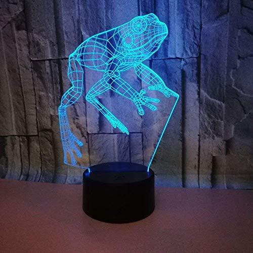 3D Rana ilusión Optica Lámpara Luz Nocturna 7 Colores Cambiantes Touch USB de Suministro de Energía Juguetes Decoración Navidad Cumpleaños Regalo
