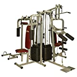 Material: Other In-Box Contents: 1 x 6 Station Home Gym - 3 Weight Lines The 6 stations in this home gym are - butterfly, leg squat - a) squat press b) calf raise, hip flexor - a) hip flexor b) dipping, twister, pushup stand, a) high lat pulley b) se...