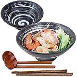 Ciotola Ramen Giapponesi, 1000 Ml Zuppa Ciotole Ceramica Scodelle Combinazione with Legno Bacchette Cucchiaio 2 Set, For Insalata Cereali Pasta Frutta Noodle Riso Snack Udon (C)