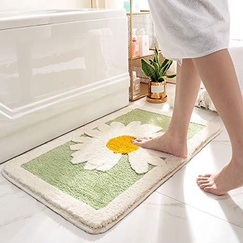 "Luxury Plush Comfortable Carpet for Bath Room,Beautiful Daisy Design,Perfect Decoration Small Plush Non Slip Carpet,Machine Washable,Thick Super Soft Best Absorbent Bathroom Mat Rugs(Green,20""x30"")"