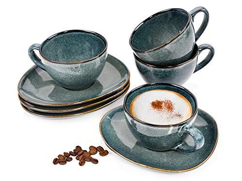 Sänger Kaffeetassen Set Darwin aus Steingut 8 teiliges Set - Füllmenge der Tassen 300 ml - Inklusive 4 Untertassen– Teeservicein Vintage-Optik bestehend ausTassen und Untertassen