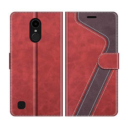 MOBESV Handyhülle für LG K4 2017 Hülle Leder, LG K4 2017 Klapphülle Handytasche Hülle für LG K4 2017 Handy Hüllen, Modisch Rot