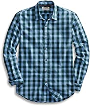 Amazon Brand - Goodthreads Mens Standard-Fit Long-Sleeve Gingham Plaid Poplin Shirt, Blue/Green, Medium